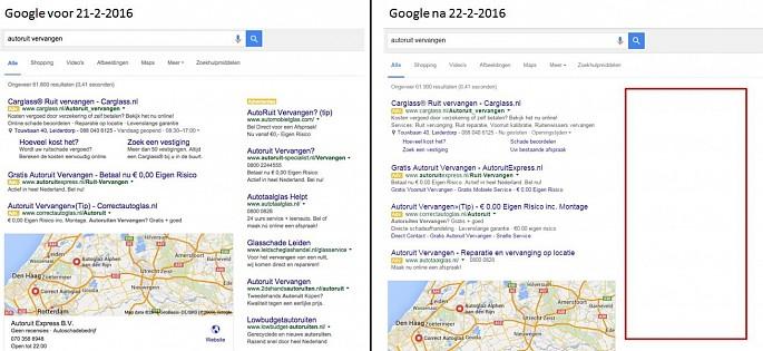 Laatste verandering in google zoekresultaten